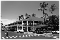Pioneer Inn and streets. Lahaina, Maui, Hawaii, USA ( black and white)