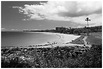 Beach and golf course, Kaanapali. Lahaina, Maui, Hawaii, USA (black and white)