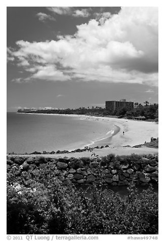 Kaanapali integrated resort. Lahaina, Maui, Hawaii, USA (black and white)
