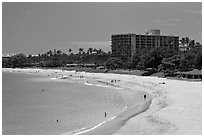 Beach and resort, Kaanapali. Lahaina, Maui, Hawaii, USA ( black and white)