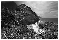 Hanakapiai Beach and cliffs from above. Kauai island, Hawaii, USA ( black and white)