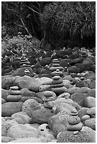 Cairns, Hanakapiai Beach. Kauai island, Hawaii, USA (black and white)