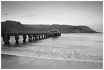Hanalei Pier at sunrise. Kauai island, Hawaii, USA ( black and white)