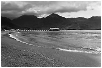 Beach and Bay, Hanalei. Kauai island, Hawaii, USA (black and white)