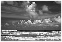 Surf and clouds near Kilauea Point. Kauai island, Hawaii, USA ( black and white)