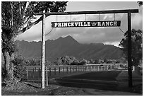 Princeville Ranch gate. Kauai island, Hawaii, USA (black and white)