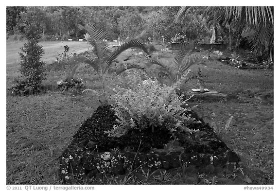 Tomb made of lava rock, Hanalei Valley. Kauai island, Hawaii, USA (black and white)