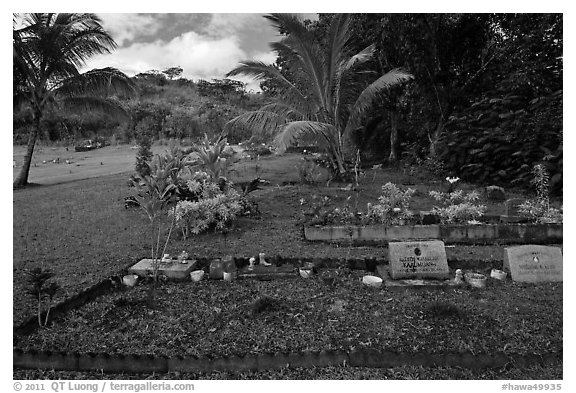 Hawaiian graves, Hanalei Valley. Kauai island, Hawaii, USA (black and white)
