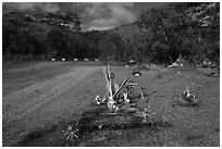 Chinese graves,  Hanalei Valley. Kauai island, Hawaii, USA (black and white)