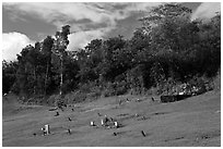 Graves on grassy slope, Hanalei Valley. Kauai island, Hawaii, USA (black and white)