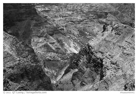 Waimea Canyon carved into tholeiitic and post-shield calc-alkaline lava. Kauai island, Hawaii, USA (black and white)