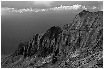 Na Pali Cliffs, seen from Pihea Trail. Kauai island, Hawaii, USA ( black and white)