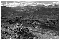 Downriver from Waimea Canyon. Kauai island, Hawaii, USA ( black and white)
