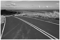 Road on way down from Waimea Canyon. Kauai island, Hawaii, USA (black and white)