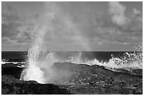 Spouting Horn and incoming surf. Kauai island, Hawaii, USA ( black and white)