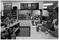 Popular noodle restaurant, Lihue. Kauai island, Hawaii, USA (black and white)