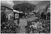 Kilauea market. Kauai island, Hawaii, USA (black and white)