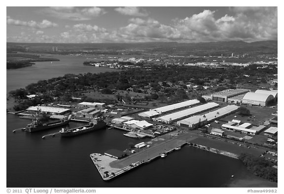 Hickam AFB and Pearl Harbor. Honolulu, Oahu island, Hawaii, USA (black and white)