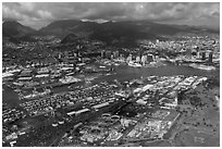 Aerial view of harbor. Honolulu, Oahu island, Hawaii, USA ( black and white)