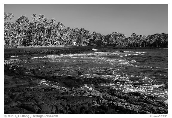 Punaluu beach. Big Island, Hawaii, USA (black and white)