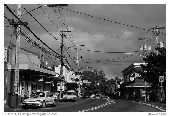Street, Pahoa. Big Island, Hawaii, USA (black and white)