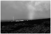 Mauna Loa Observatory and rainbow. Big Island, Hawaii, USA (black and white)