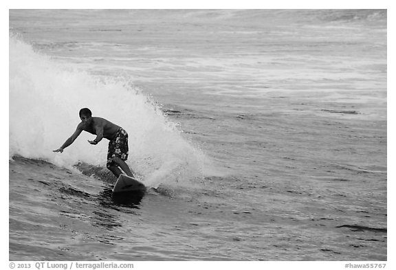 Surfer, Isaac Hale Beach. Big Island, Hawaii, USA (black and white)
