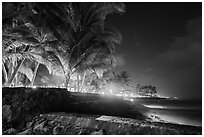 Waterfront at night, Kailua-Kona. Hawaii, USA (black and white)