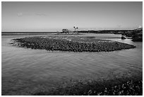 Volcanic rocks islet, Kiholo Bay. Big Island, Hawaii, USA (black and white)