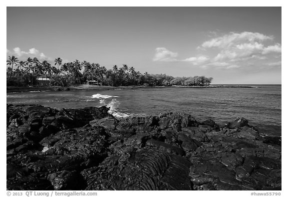 Hardened lava coastline, Kiholo Bay. Big Island, Hawaii, USA (black and white)