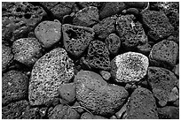 Detail of rock wall, Kaloko-Honokohau National Historical Park. Hawaii, USA (black and white)