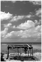 Beach fale near the Asaga Strait, Ofu Island. American Samoa (black and white)