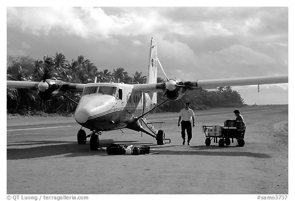 Plane on the airstrip of Ofu Island. American Samoa (black and white)