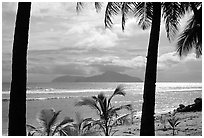 Olosega island seen from Tau. American Samoa (black and white)