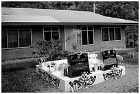 Tombs in front of a home in Faleasao. American Samoa (black and white)