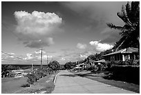 The main street of Fitiuta. American Samoa (black and white)