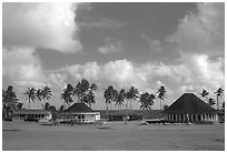Homes near the ocean in Vailoa. Tutuila, American Samoa (black and white)