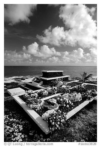Tombs near the ocean in Vailoa. Tutuila, American Samoa (black and white)