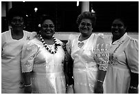 Sunday women churchgoers dressed in white, Pago Pago. Pago Pago, Tutuila, American Samoa ( black and white)