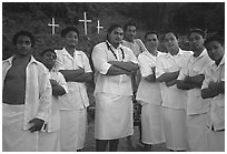 Sunday men churchgoers traditionally dressed, Pago Pago. Pago Pago, Tutuila, American Samoa ( black and white)