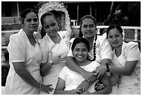 Young women dressed in white for sunday church, Pago Pago. Pago Pago, Tutuila, American Samoa ( black and white)