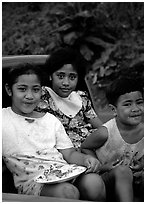 Children in a truck bed. Pago Pago, Tutuila, American Samoa ( black and white)