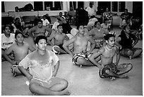 Villagers getting ready for traditional dance, Aua. Tutuila, American Samoa ( black and white)