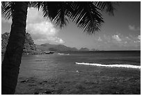 Coast from Onena. Tutuila, American Samoa ( black and white)