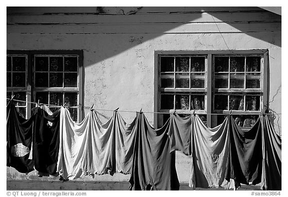 Laundry drying on clotheline in Tula. Tutuila, American Samoa