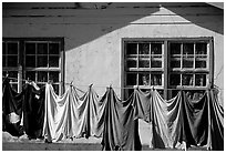 Laundry drying on clotheline in Tula. Tutuila, American Samoa (black and white)