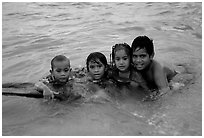 Children in the water. Tutuila, American Samoa (black and white)