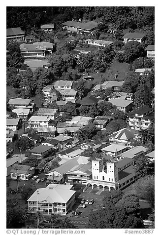 Fagatoga seen from Mount Alava. Pago Pago, Tutuila, American Samoa (black and white)