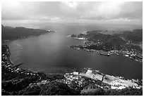 Pago Pago harbor seen from Mount Alava. Pago Pago, Tutuila, American Samoa ( black and white)