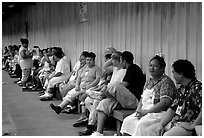 Workers of the tuna factory during a break. Pago Pago, Tutuila, American Samoa ( black and white)